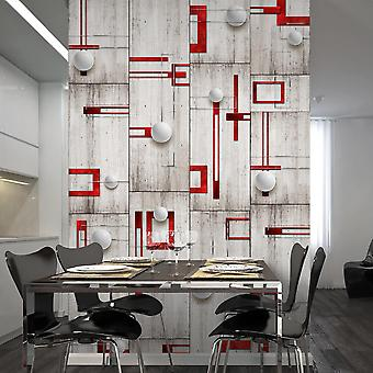 Wallpaper - Concrete, red frames and white knobs