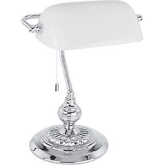 Desk lamp HV halogen E27 60 W EGLO Banker Traditional 90968 Chrome, White