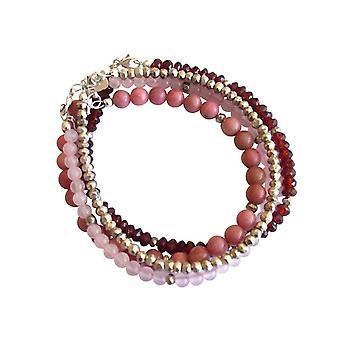Gemshine - donna - Bracciale - argento bacca rosso - granato - quarzo rosa - rosso - rosa - 925 argento