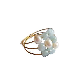 Gemshine - kvinder - ring - forgyldt - akvamarin - perler - blå - hvid
