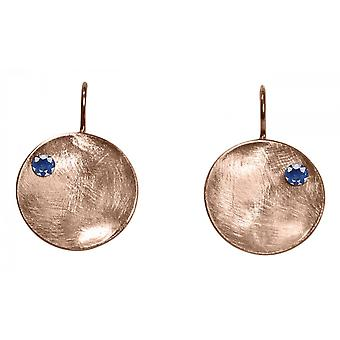 Ladies earrings 925 Silver rose gold plated shell Iolite Blau 3 cm