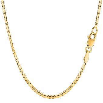 14k Yellow Solid Gold Mirror Box Chain Necklace, 1.7mm