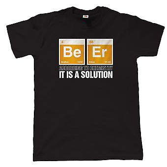 Beer, It Is A Solution, Mens Funny Drinking T Shirt, Gift Dad Birthday