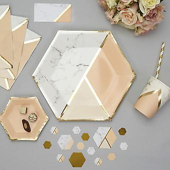 Marble / Peach Paper Party Plates x 8