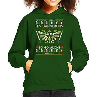 Legend Of Zelda Christmas Knit Pattern Kid's Hooded Sweatshirt