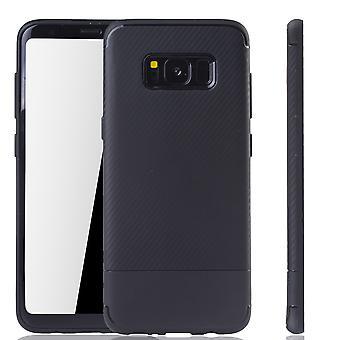 Samsung Galaxy S8 Handyhülle Schutzcase Carbon Optik Bumper Schwarz