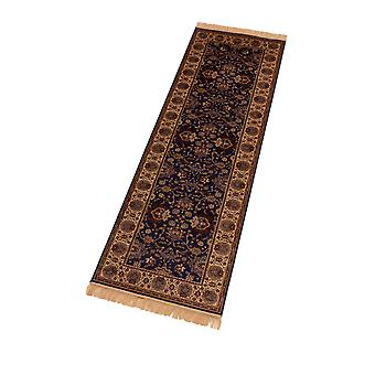 Blue Indian Agra Artificial Faux Silk Effect Hall Runner Rugs 4620/9
