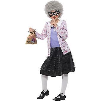 デビッド Walliams デラックス ギャングスタおばあちゃん衣装、仮装、小さな年齢 4-6