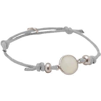 Gemshine pulseira de nó de jade branco - tamanho ajustável. Prata 925, alta qualidade dourado ou rosa - joia sustentável e de qualidade, feita na Alemanha