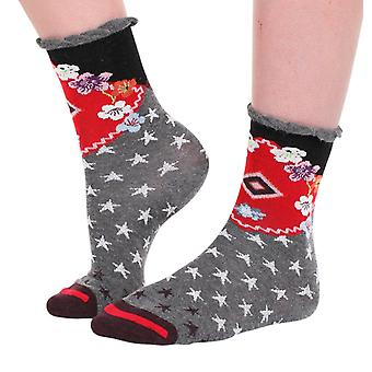 Russian women's crazy cotton crew socks designed in France by Fil de Jour