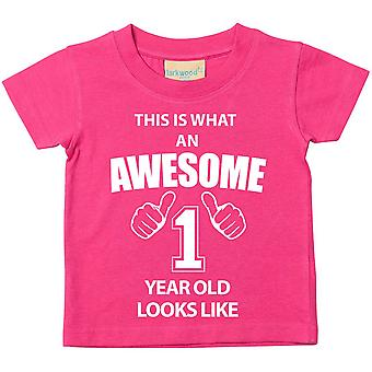 This is What An Awesome 1 Year Old Looks Like Pink Tshirt