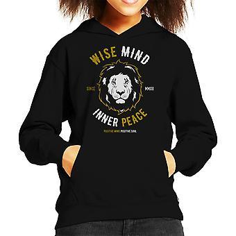 Wise Mind Inner Peace Lion Kid's Hooded Sweatshirt