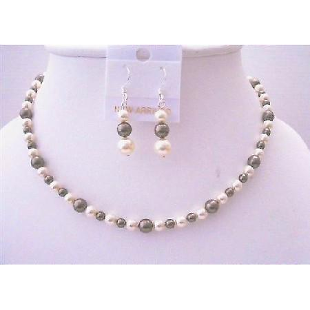 Brown Ivory Pearls Flower Girl Swarovski Jewelry Necklace & Earrings