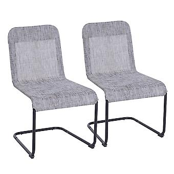 Outsunny Set of 2 Armless Texteline Chair Dining Seat Garden Deck Lounge