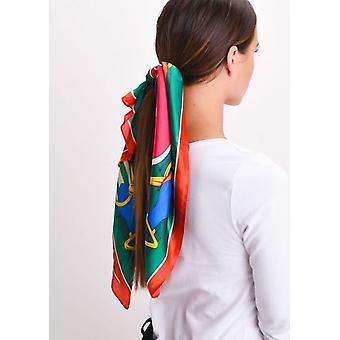 Kvadratisk silke Satin hoved tørklæde hest Print grøn