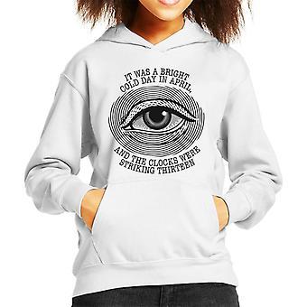 Must Read Opening Lines George Orwell 1984 Kid's Hooded Sweatshirt