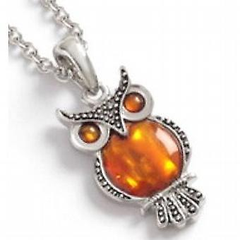TOC Orange Dyed Paua Shell Owl Pendant Necklace 16