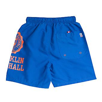 Infant Boys Franklin And Marshall Core Logo Swim Short In Blue- Ribbed
