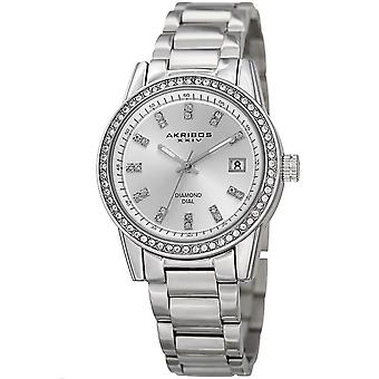 Akribos XXIV Women's Genuine Diamond and Crystal Stainless Steel Bracelet Watch AK928SS