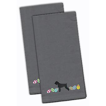 Giant Schnauzer Easter Gray Embroidered Kitchen Towel Set of 2