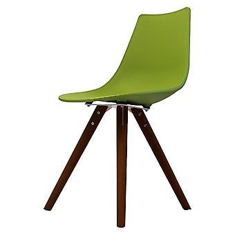 Chaise de salle à manger en plastique vert iconique de fusion vivante avec des jambes en bois foncé