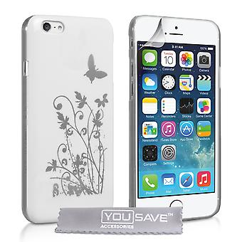 YouSave Accessories iPhone 6 and 6s Floral Butterfly Hard Case WhiteSilver