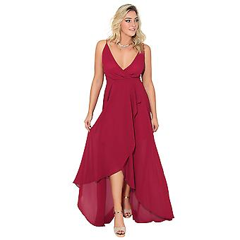 KRISP Asymmetrical Slit Front Maxi Dress