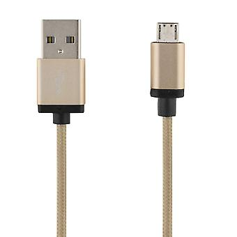 DELTACO PRIME USB-sync/Charger cable, fabric-covered, 3m, gold