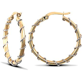 Jewelco London Ladies 9ct Yellow and White Gold Barb Wire Wrap 2mm Hoop Earrings 25mm