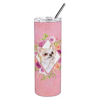 Capelli lunghi Chihuahua Rosa Fiori Doppia Murata Inacciaio Invigliato 20 oz Skinny Tumb
