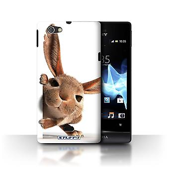 STUFF4 Case/Cover for Sony Xperia Miro/ST23I/Peeking Bunny/Funny Animals