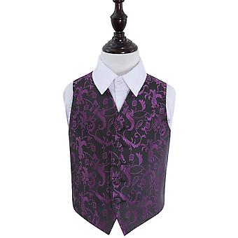 Boy's Black & Purple Passion Floral Patterned Wedding Waistcoat