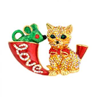 Butler & Wilson Red Crystal Cat Mouse And Horn Brooch