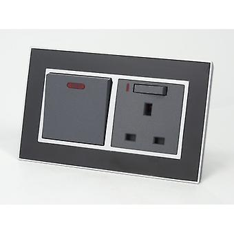 I LumoS AS Luxury Black Mirror Glass Double 45A Switch with Switched Neon 13A UK Socket