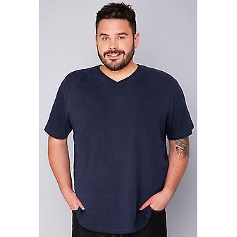 BadRhino Navy Basic Plain V-Neck T-Shirt- TALL