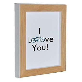 GAD Natural Wood Photo Frame With White Spine  I Love You  15X20X2 Cm