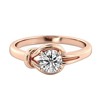0.6 Carat H VS2 Diamond Engagement Ring 14K Rose Gold Solitaire Knot Round
