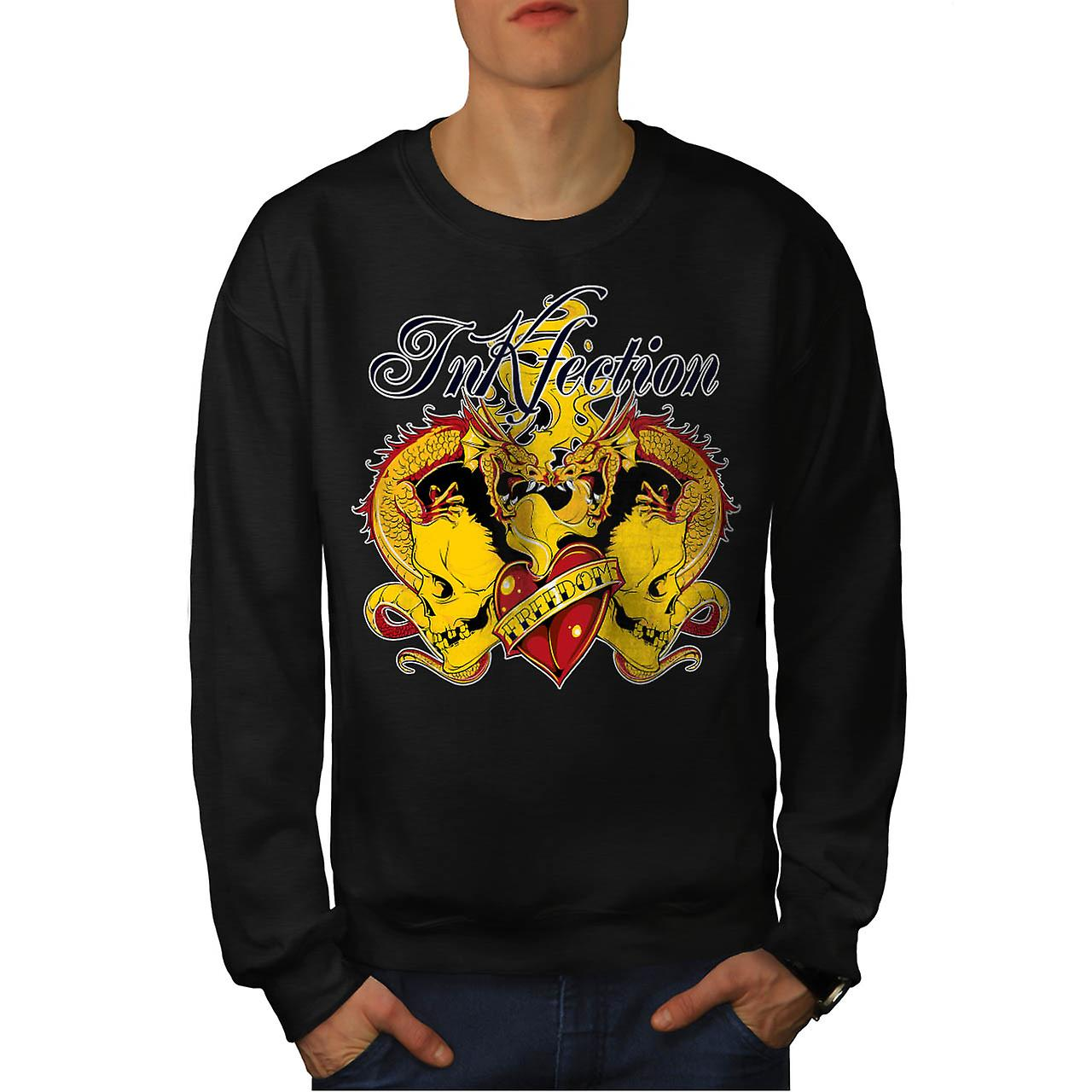 Skull Fire Dragon Vintage Men Black Sweatshirt | Wellcoda