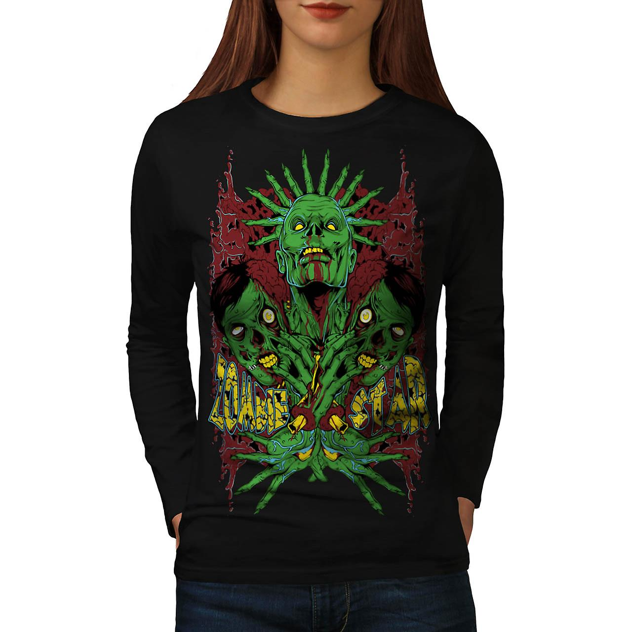 Star Green Monster Zombie Women Black Long Sleeve T-shirt | Wellcoda