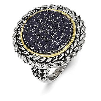 Acabado plata con textura pulida antiguo y 14k anillo de zafiro amarillo - tamaño: 6 a 8