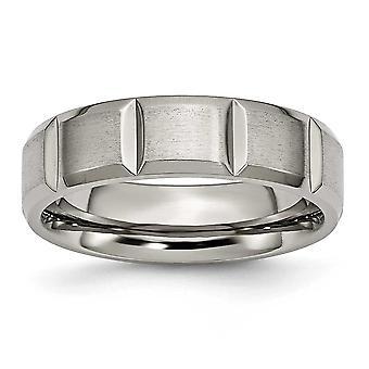 Titanium Engravable poleret og satin Notched 6mm Grooved Satin og poleret Band Ring - ringstørrelse: 6-13