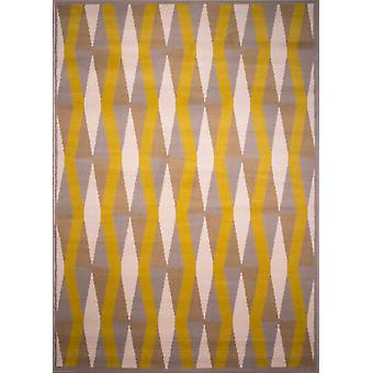 Retro ockra gul & grädde geometrisk matta - Milano
