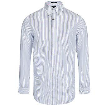 Gant The Breton Mens Regular Fit Long Sleeved Striped Shirt - Blue