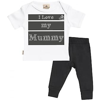 Verwöhnt faul ich liebe meine Mama Baby T-Shirt & Baby Jersey Hose Outfit Set
