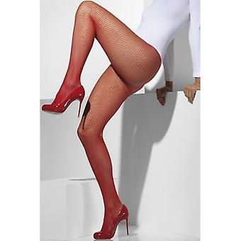 Smiffys Fishnet Tights Red (Trajes)