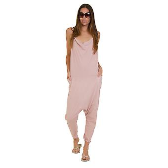 Jersey Jumpsuit - Dusky Pink Lightweight Stretch Loose Fit Playsuit Harem