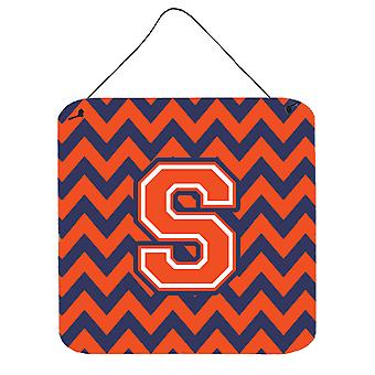 Letter S Chevron Orange and Blue Wall or Door Hanging Prints