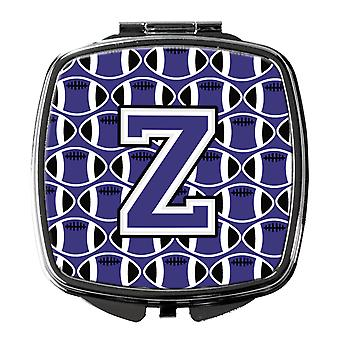 Letter Z Football Purple and White Compact Mirror