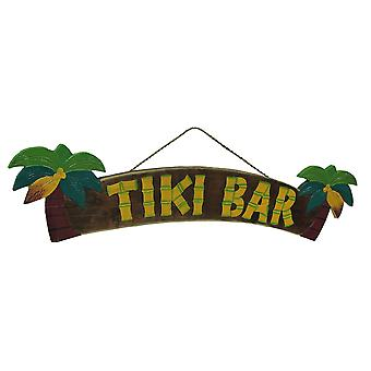 Colorful Tropical Palm Trees Wooden Tiki Bar Sign