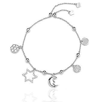 Verstellbare Armband Sterling Silber mit Zirkonia Sonne Mond und Sterne Charme, 9
